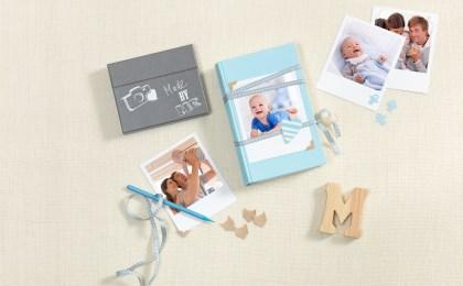 Ein Notizbuch wird mit buntem Washi-Tape und einem Foto des kleinen Lieblings zum stilvollen Baby-Tagebuch.