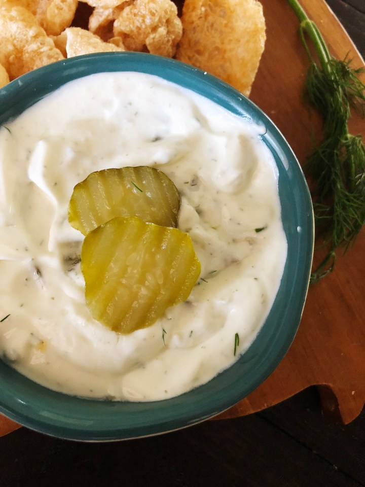 Low Carb Sour Cream Dill Pickle Dip