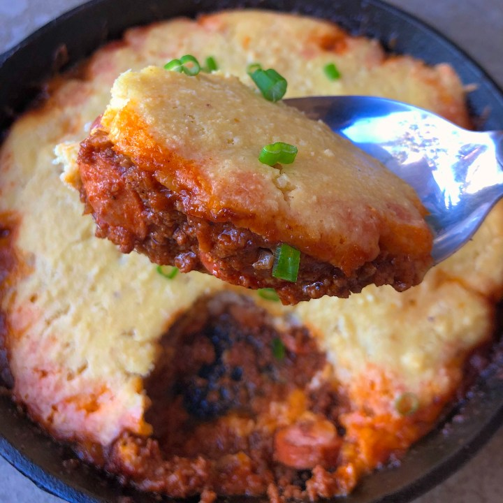 Low Carb Chili and Cornbread Skillet
