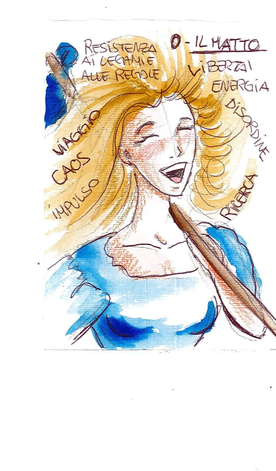 Laura angolo bianco: Il matto nel mazzo di tarocchi artigianale White Tarot