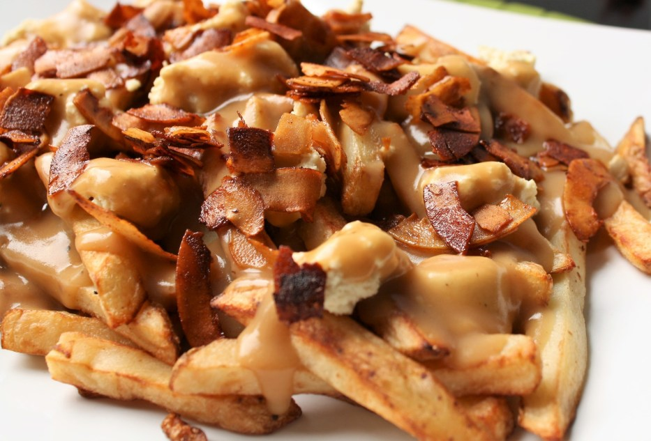 Maple Bacon Poutine Close Up Vegan Cheese