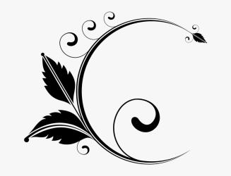 Circles Leaves Flowers Garden Divider Accent Floral Design Black And White Png Transparent Png kindpng