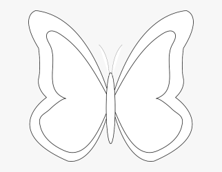 Transparent Simple Butterfly Outline Clipart White Butterfly Clip Art HD Png Download kindpng
