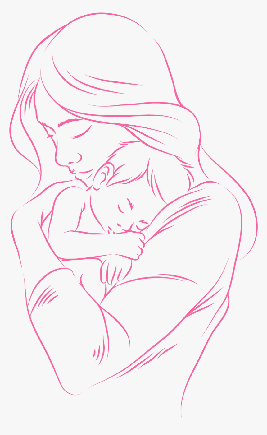 Mother And Baby Images Drawing : mother, images, drawing, Beautiful, Mother, Drawing,, Download, Kindpng