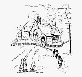 Children Going To School Clipart Black And White HD Png Download kindpng