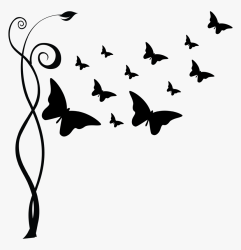 Transparent Butterfly Silhouette Png Flying Butterfly Clipart Black And White Png Download kindpng