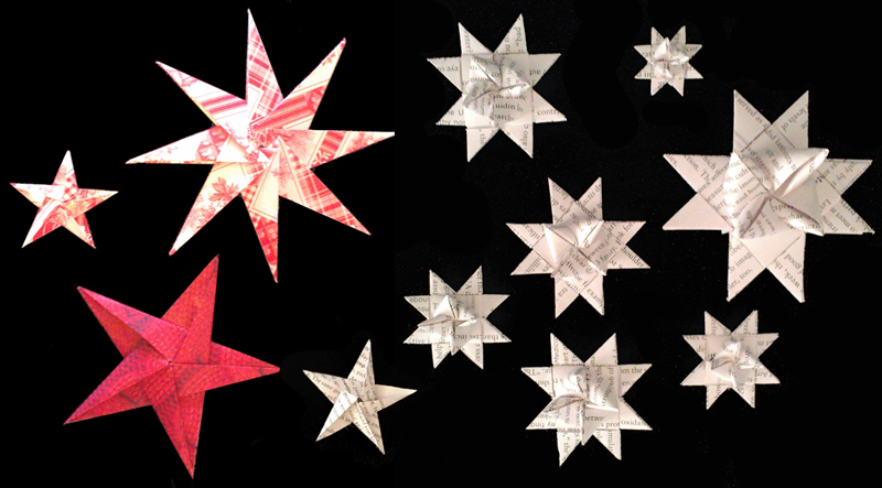 Scandinavian Christmas mantel, paper stars, DIY, red and white