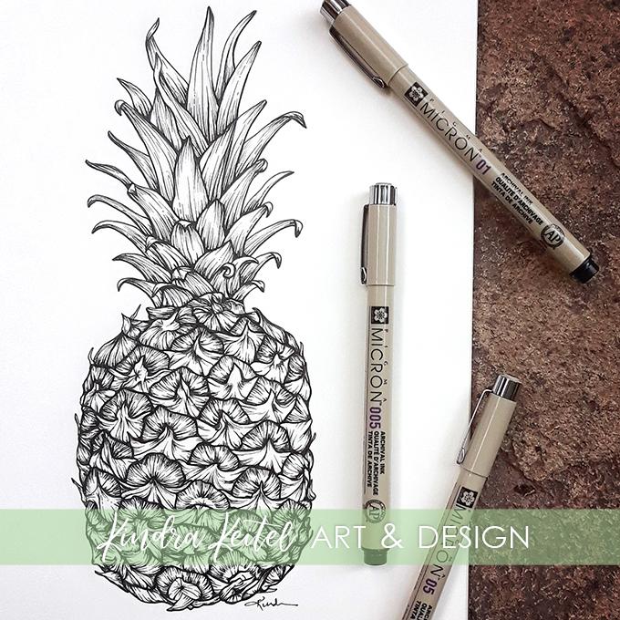 pineapple botanical illustration