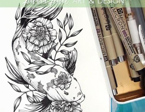 koi and hellebore botanical illustration