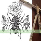 beetle rose botanical illustration