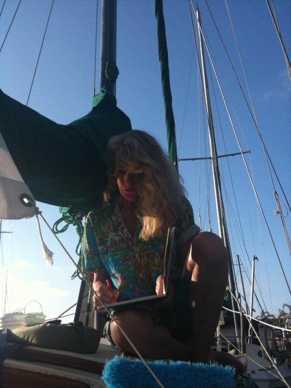 Lucinda Hayes painting En Plein Aire (Sailboat)