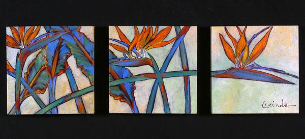 Birds of Paradise Trio (Dark) by Lucinda Hayes
