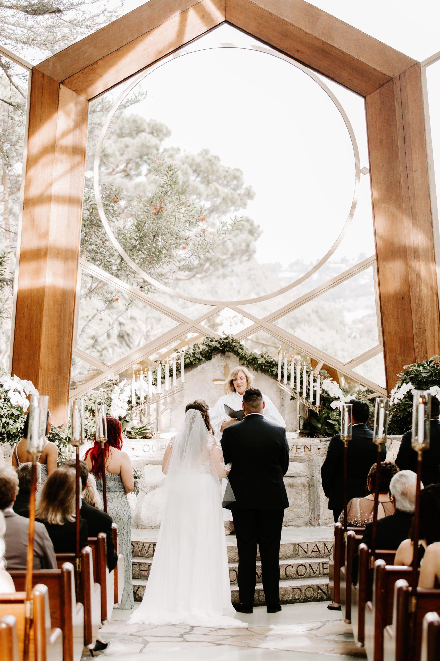 Wedding ceremony at Wayfarers Chapel