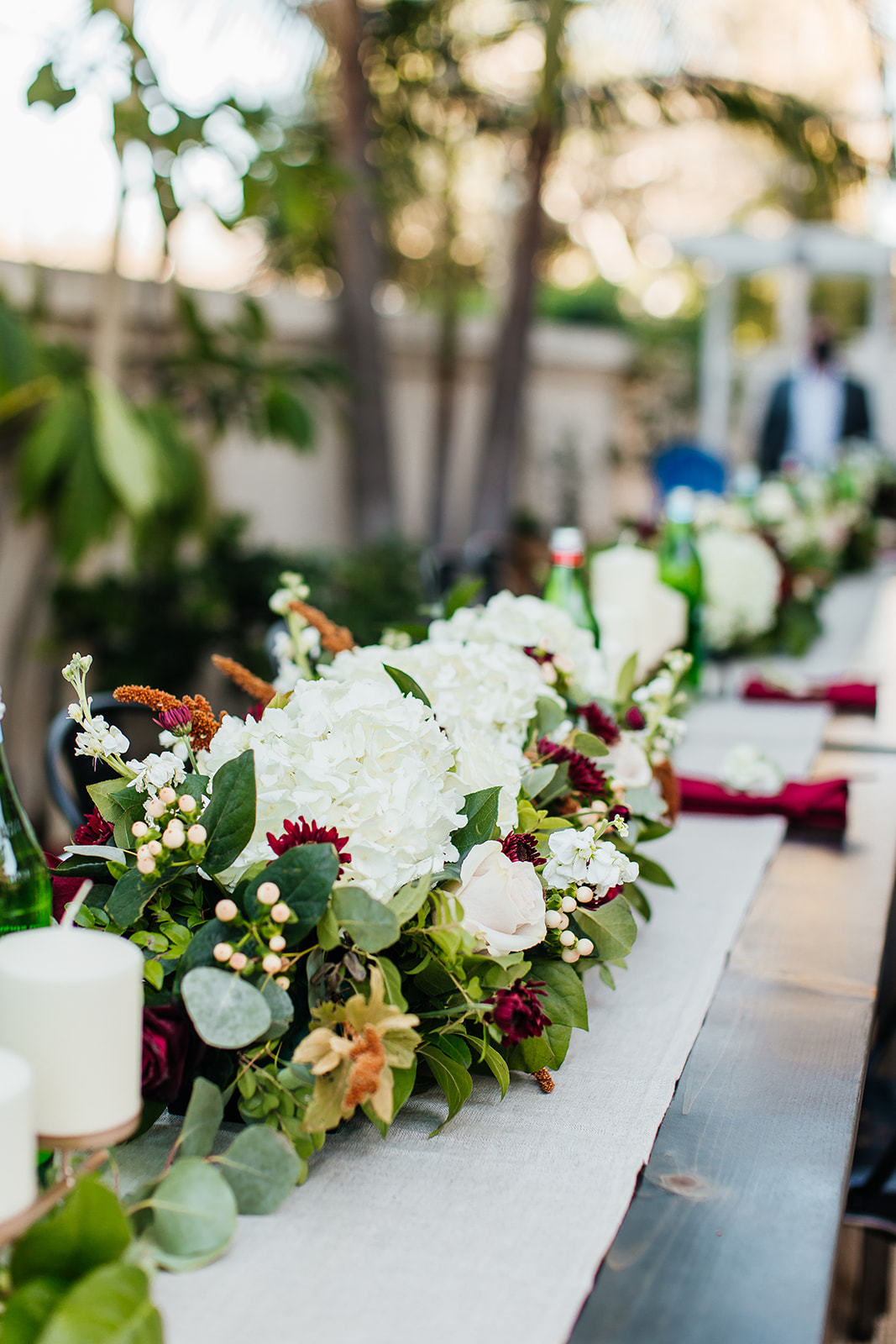 White and green wedding floral centerpieces