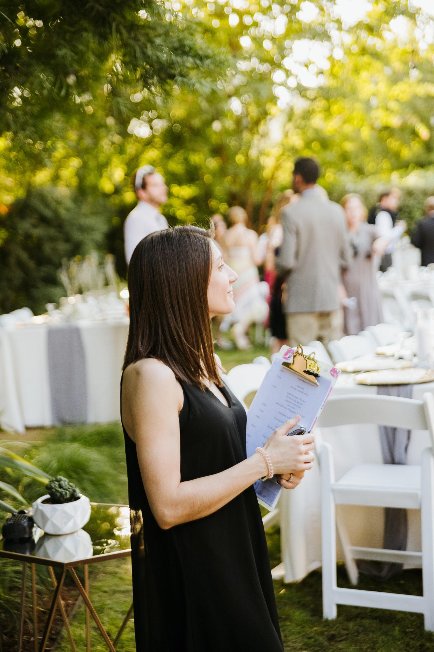 Wedding planner at reception