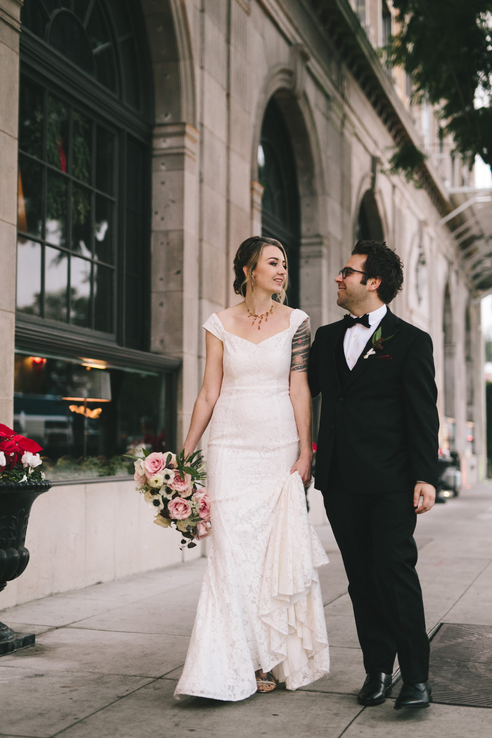 Bride and Groom outside Culver Hotel