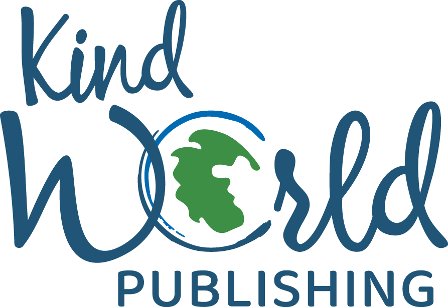 The Kind World Publishing logo is a blue and green logo with an earth illustration showing Pangea.