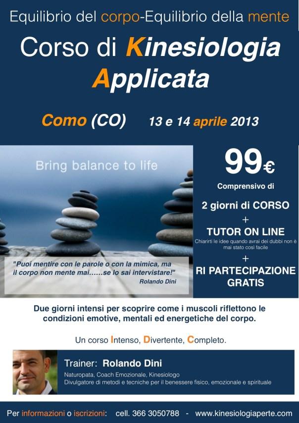 Il Corso di KINESIOLOGIA APPLICATA approda nel nord Italia: Como, 13 e 14 aprile 2013