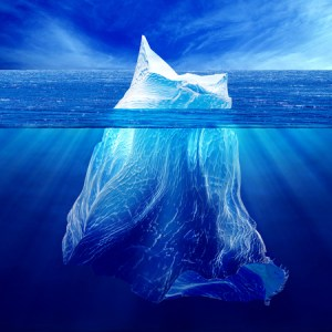 53783829 – iceberg above the water and under water.