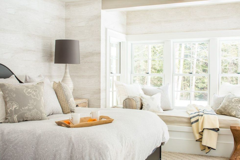 kinfolk&soul transitional master-bedroom-with-wallpaper-and-window-seat