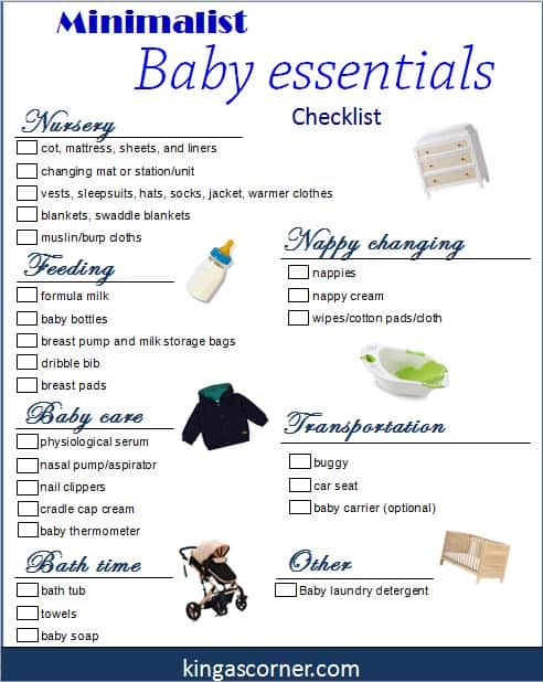 minimalist baby essentials checklist for pinterest