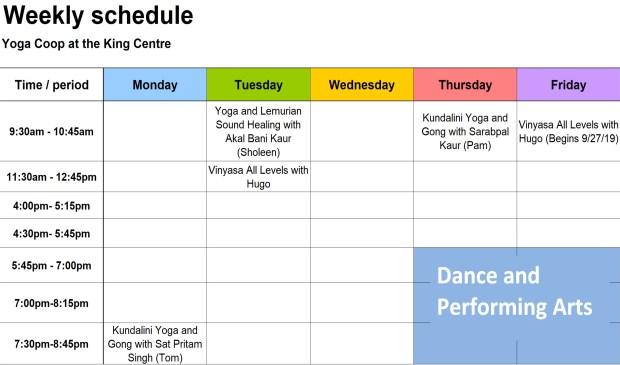 090619 Weekly Yoga Schedule
