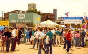 AIDS Prevention Project booth at Seattle Pride Fest, ca. 1989/1990. [Series 1825, History files, Seattle-King County Department of Public Health: Prevention Division / HIV-AIDS Program. 1825-10-5.]