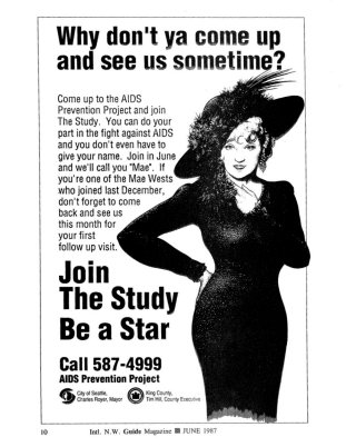 "Poster advertising the Be a Star study (ca. 1987-). Mae West was one of the ""stars"" assigned to subjects, in a system designed to allow long-term, anonymous participation. [Series 1825, History files, Seattle-King County Department of Public Health: Prevention Division / HIV-AIDS Program. 1825-2-13.]"
