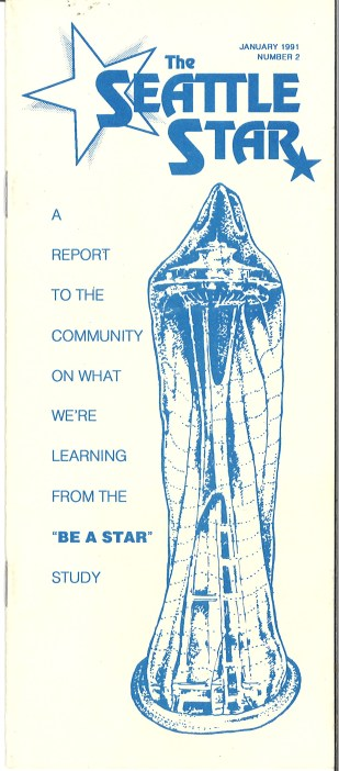 "Front cover of ""The Seattle Star,"" Report No. 2, 1991. The semi-annual report to the community summarized findings from the Be a Star study. Marilyn Monroe was one of the ""stars"" assigned to subjects, in a system designed to allow long-term, anonymous participation. [Series 1825, History files, Seattle-King County Department of Public Health: Prevention Division / HIV-AIDS Program. [1825-2-13.]"