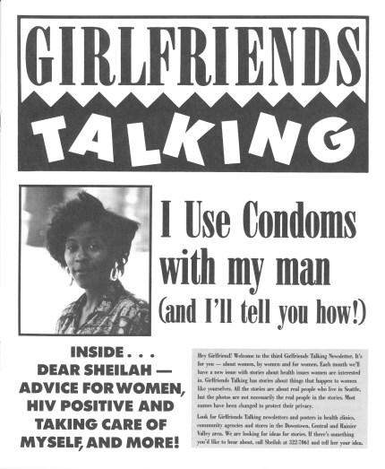 "Cover of pamphlet from ""Girlfriends Talking"" campaign by the People of Color Against AIDS Network. [Series 1825, History files, Seattle-King County Department of Public Health: Prevention Division / HIV-AIDS Program. 1825-3-13.]"