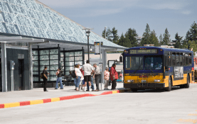 Bus at transit center