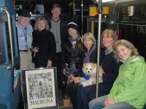 Metro driver Laury Minard, left, was surprised with an invitation to receive the Unsung Hero Award from Madrona leaders, Barbara Parker, Jerry Arbes, Rose Driver, Anne Knight, Shoshana Driver with Chewie Rudo (the dog in her lap), Susan Roberts.