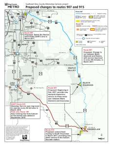 Proposed change to Route 907: shorten route to operate between Renton and Black Diamond, increase service so bus comes every 60 minutes. Proposed change to Route 915: extend to South Enumclaw to cover Enumclaw portion of discontinued Route 907.