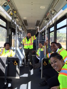 Trainer Chris Wick and new Metro drivers in training