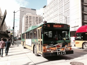 Photo of Route 70 bus in downtown Seattle