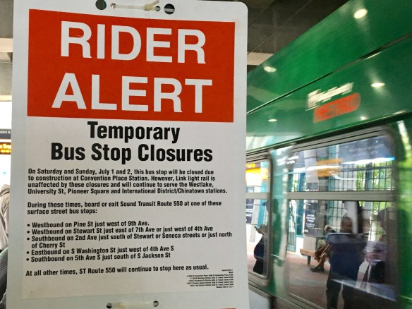 Photo of rider alert sign posted at International District Station