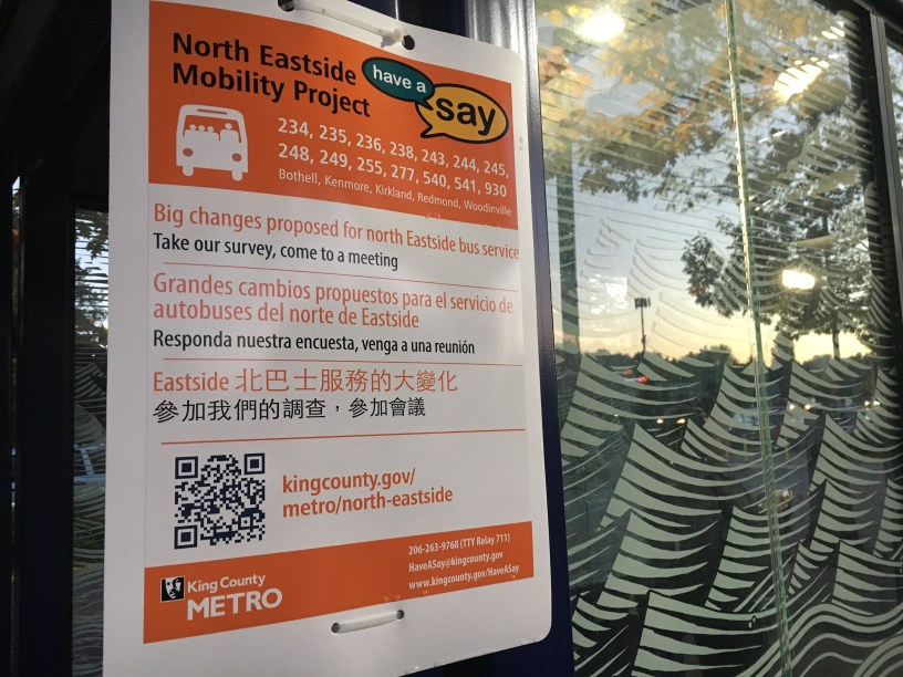 North Eastside Mobility project seeks feedback, sign at bus stop in Kenmore