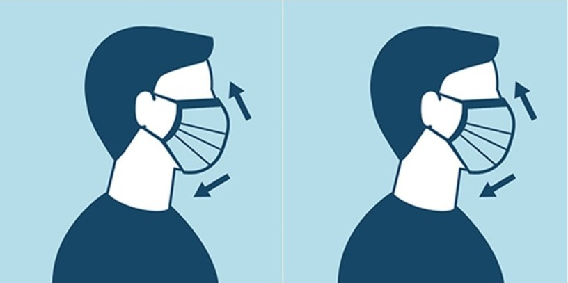 Graphic of sideview of person wearing facemask