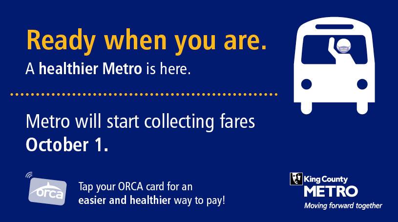 Metro will restart fare collection on October 1