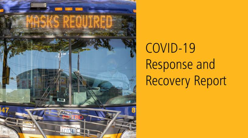 COVID-19 Response and Recovery report cover image of a bus with Masks Required sign and masked driver