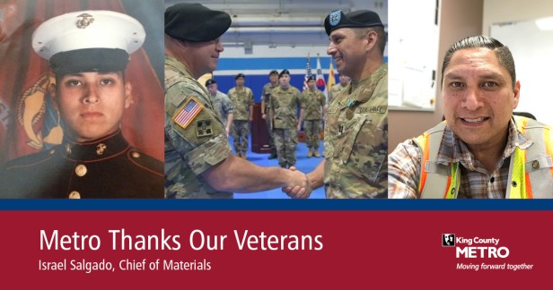 Israel Salgado, Metro's Chief of Materials, is shown today and while serving our country in the military