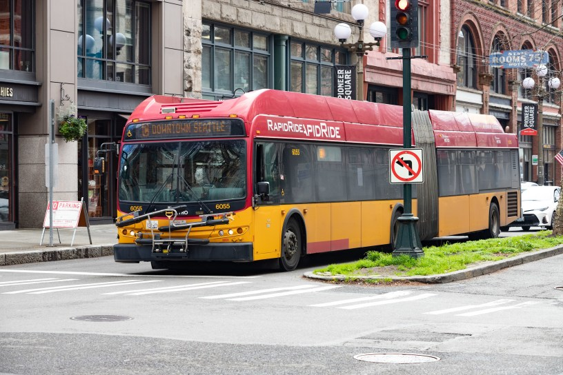 RapidRide bus in downtown Seattle