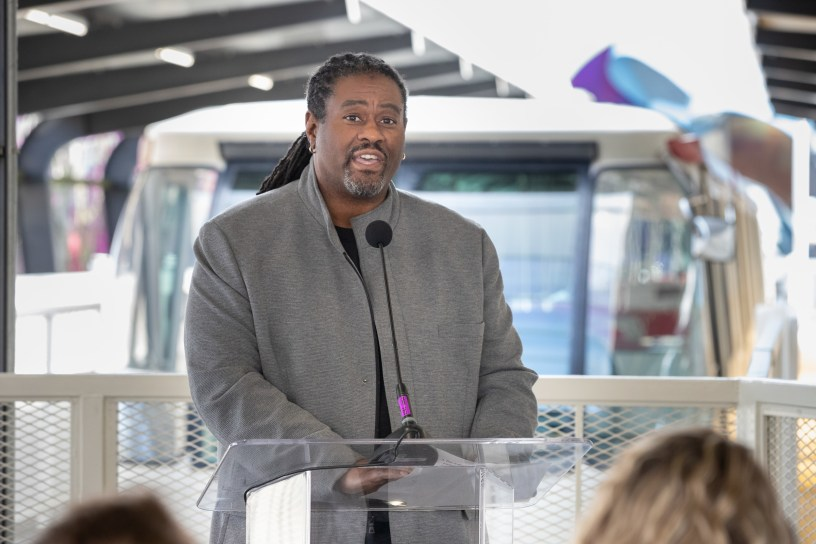 Terry White speaks at a Feb. 2020 event