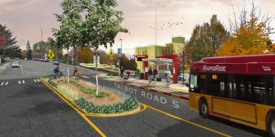 Artists rendering shows the concept of a RapidRide I Line station on Talbot Road.