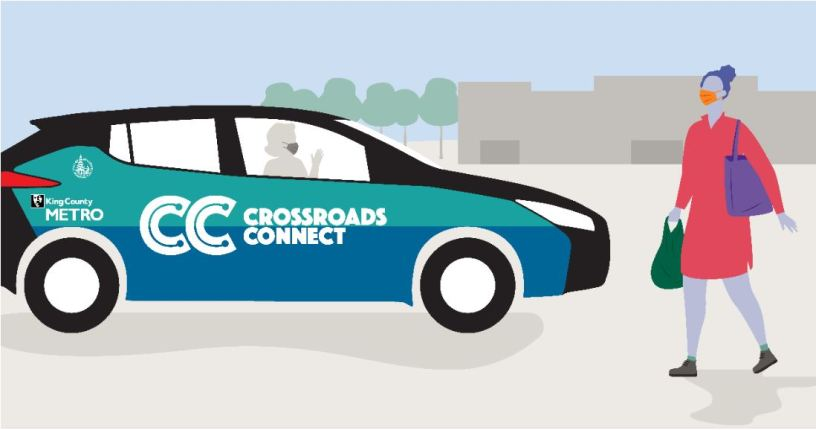 Cartoon graphic of Crossroads Connect vehicle and passenger