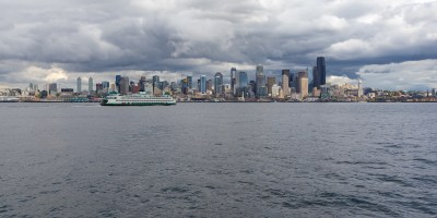 Panoramic Seattle view from Puget Sound