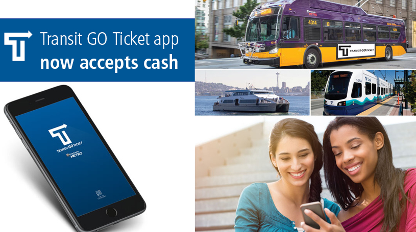 Four-part graphic of Transit GO Ticket logo, app welcome screen, people using the app, and a Metro bus