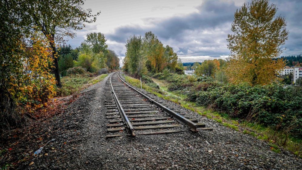 Existing rails in the Eastside Rail Corridor