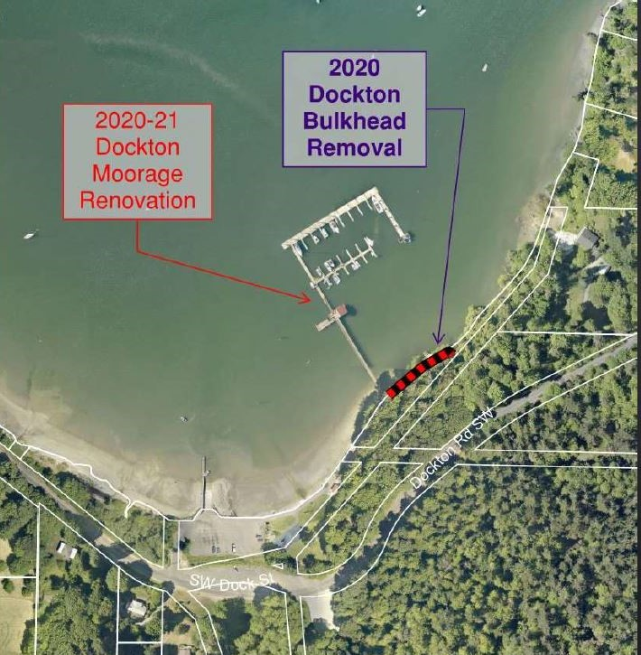 Aerial photo pointing to dock and bulkhead