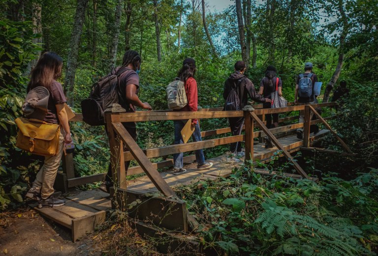6 masked youth of all races and genders cross a foot bridge in the middle of a green forest. They carry backpacks and clipboards and are dressed for outdoor recreation.